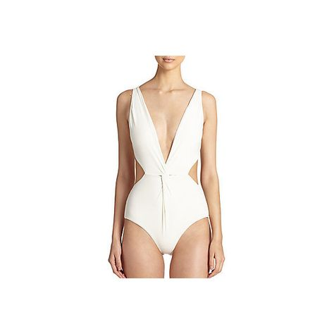 Mara Hoffman One-Piece Front-Twist Swimsuit ($50) ❤ liked on Polyvore featuring swimwear, one-piece swimsuits, cream, one piece bathing suits, swim suits, cut out one piece bathing suits, one piece swimsuit and cut out swimsuit