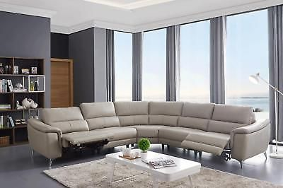 Esf 951 Light Grey Top Grain Leather Electric Recliner Sectional