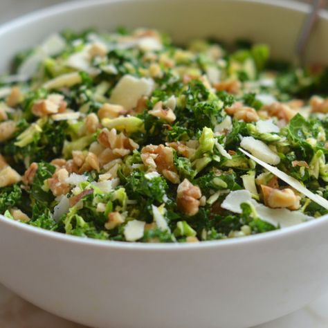 Kale & Brussels Sprout Salad with Walnuts, Parm & Lemon-Mustard Dressing