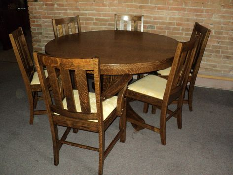 Antique Arts And Crafts Mission Oak Dining Set Table 6