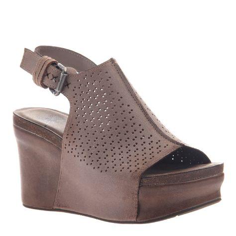 OTBT Jaunt Wedge Grey Pownder   Leather wedge sandals