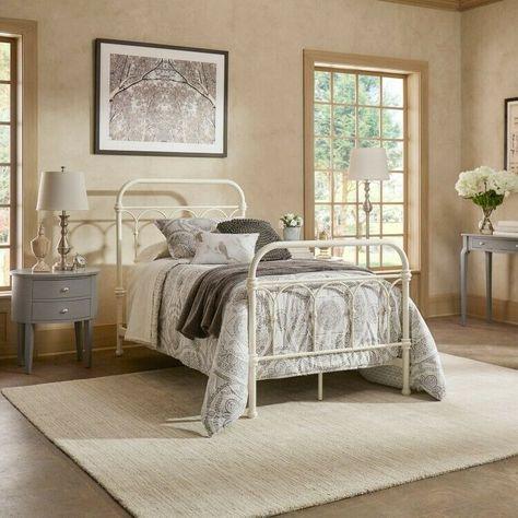 #eBay #SALES #home_garden_discounts Twin Metal Bed White Vintage Bedframe Footboard Headboard Bedroom… #eBay #SALES #home_garden_discounts