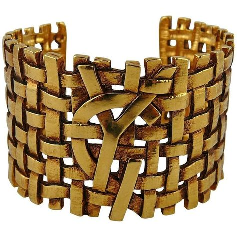 f1e2dcd6c6a Preowned Yves Saint Laurent Ysl Vintage Woven Cuff Bracelet ($711) ❤ liked  on Polyvore featuring jewelry, bracelets, brown, antique jewelry, bangle  cuff ...