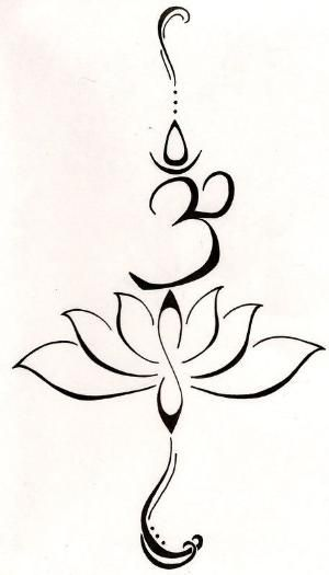 """A lotus to represent a new beginning, or going through a struggle and emerging from that struggle and becoming a symbol of strength. The symbol """"Om"""" from the Buddhist mantra to stand for love, kindness and protection...this symbolism is also said to purify hatred and anger. by sharonsparkles"""