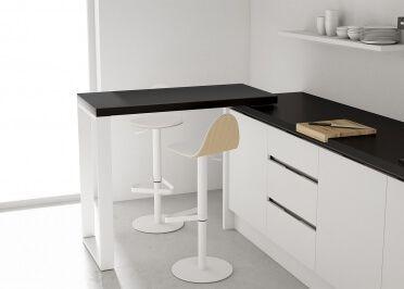 Table Mobile Coulissante En Stratifie Chene Blanc Ou Chene Naturel Slide Par Cancio Avec Images Table Bar Table Petit Espace Bar Mobile