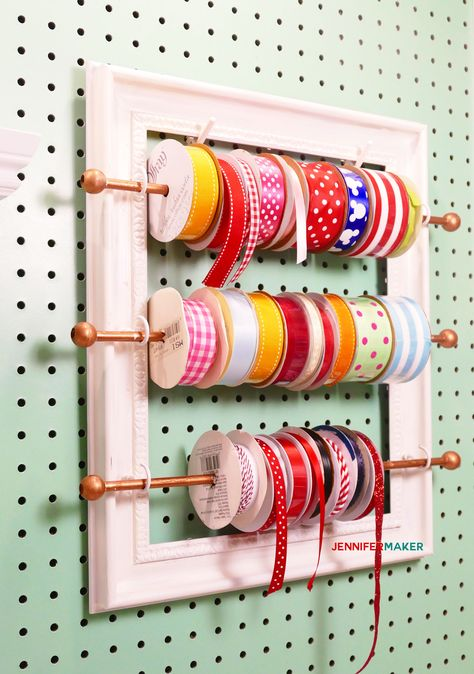 DIY Ribbon Organizer Frame: Pretty and Functional! – Jennifer Maker DIY Ribbon Organizer and Storage Frame for your Organized Craft Room! Craft Room Storage, Pegboard Craft Room, Craft Room Closet, Kitchen Pegboard, Ikea Pegboard, Pegboard Storage, Pegboard Display, Diy Storage, Storage Organizers