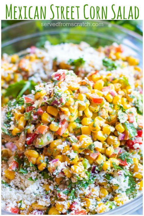 This Mexican Street Corn Salad turns the classic Mexican street food into a delicious and easy to make side dish! #mexicanstreetcorn #recipe #easy #glutenfree