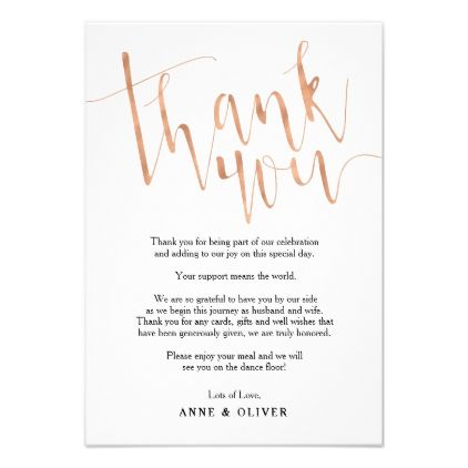 Rose Gold Thank You Card Wedding Zazzle Com Thank You Card