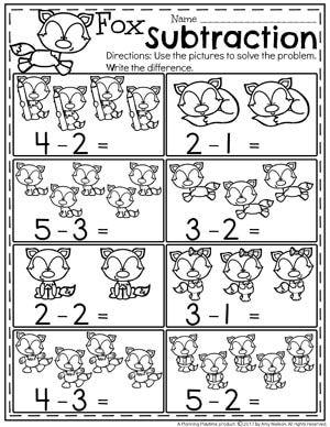 Subtraction Worksheets Kindergarten Math Activities