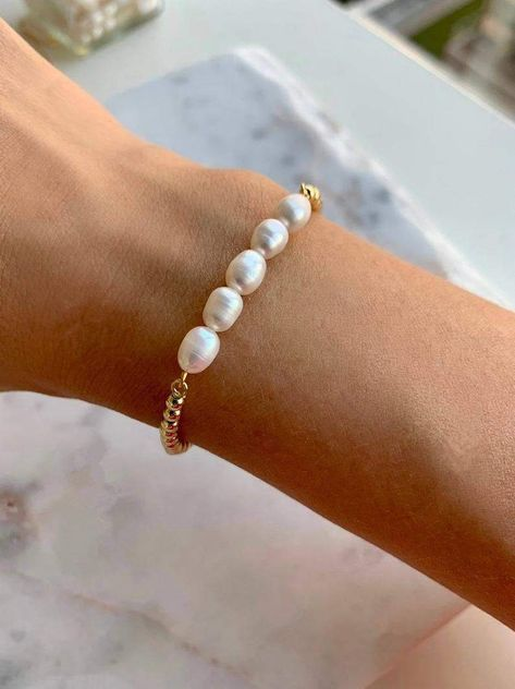 Wire Wrapped Real Pink Pearl Rose Quartz Bracelet AAA Gemstone Sterling Silver Gold Simple Jewelry Genuine Freshwater Delicate Dainty