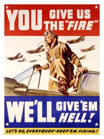 """36/""""x48/"""" """"Pour It On!"""" 1942 Large Vintage Style World War 2 Poster"""