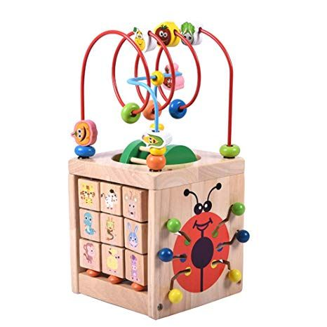 Puzzle Toy Wooden Learning Bead Maze Cube Activity Center for Children Gift