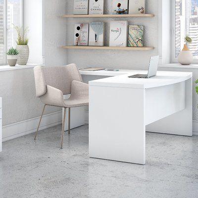 Ebern Designs Deferiet Bow Front Desk And Filing Cabinet Set