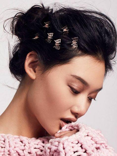 frisur mit haarspange: einfache ideen zum haare stylen mit