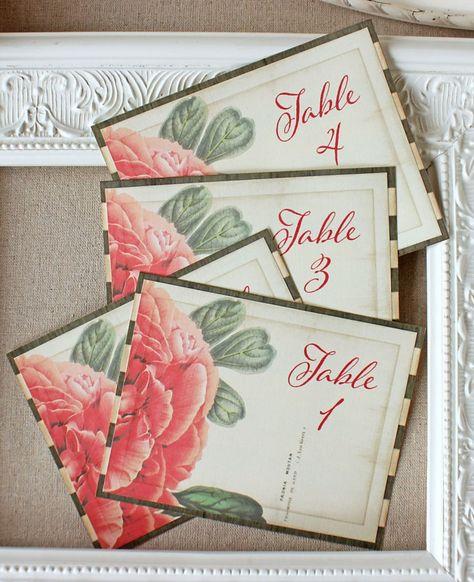 Vintage Peony Table Numbers | Sunshine and Ravioli
