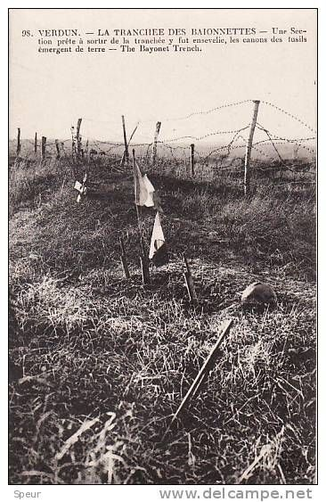 WW1. The Trench of the Bayonets. After the war this trench was found where about 20 French soldiers had been buried alive by shell bursts, leaving the muzzles of their rifles sticking up through the earth, their bodies underneath. An American built a monument to preserve the eerie scene, which is still visible at the battlefield of Verdun today. Source delcampe.net.