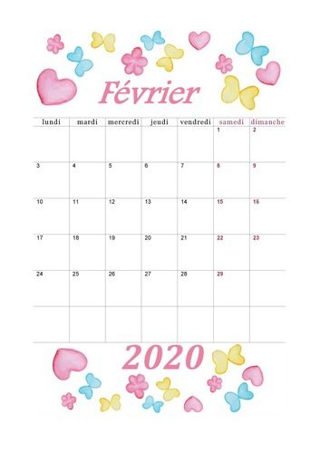 Fevrier 2020 Aquarelle Calendrier2020 Fevrier2020