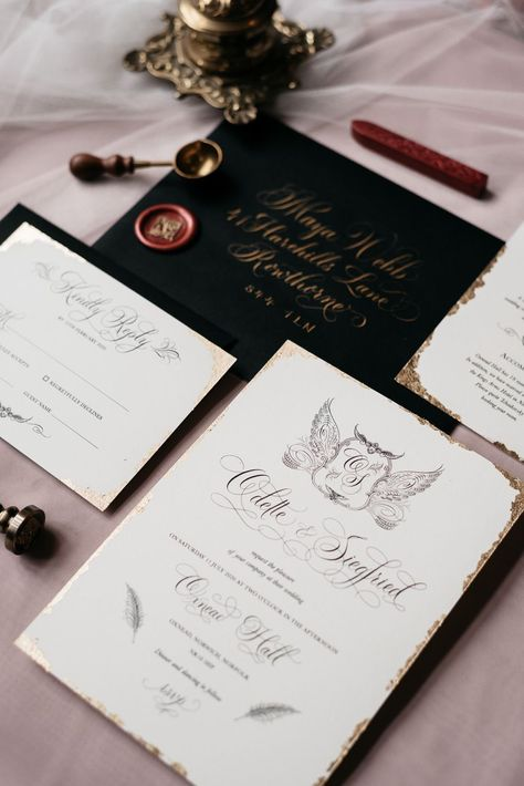Swan Lake Wedding Ideas Salsabil Morrison Stationery Invite Invitations Calligraphy Gold Black Wax Seal #WeddingStationery #WeddingInvite #WeddingInvitations #WeddingCalligraphy #GoldWedding #BlackWedding #WaxSeal #Wedding