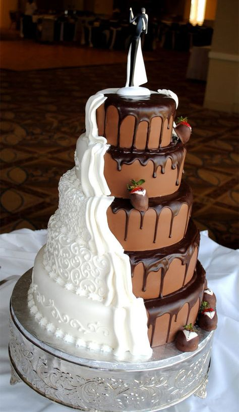 My future wedding cake.a brides cake and grooms cake in one. Crazy Wedding Cakes, Amazing Wedding Cakes, Amazing Cakes, Cake Wedding, Funny Wedding Cakes, Crazy Cakes, Disney Wedding Cakes, Winter Wedding Cakes, Wedding Favors