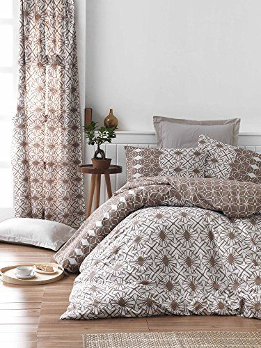 Dose Of Modern Alize Brown Ranforce Super King Quilt Cover Set Eu It 172prl52275 Brown White Quilt Cover Sets Duvet Bedding Home