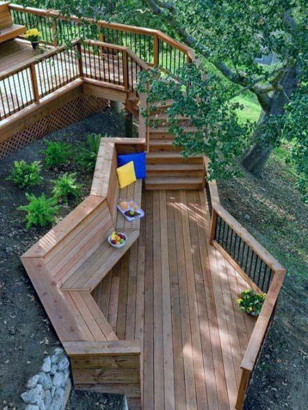 Top 60 Best Deck Bench Ideas Built In Outdoor Seating Designs Cool Deck Redwood Decking Deck Bench