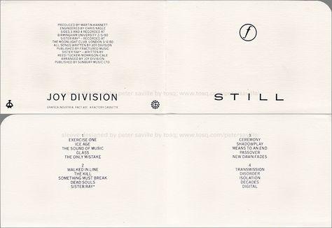 Joy Division Still Boxed Cassette Inlay Joy Division
