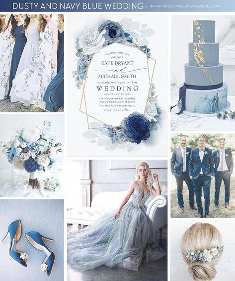 dusty blue and navy blue wedding cake, gold foil glitter geometric frame and slate blue hydrangea wedding invitation, floral grey blue bridesmaids dresses, ombre blue shades flowers bouquet, dark blue velvet groomsmen suits .
