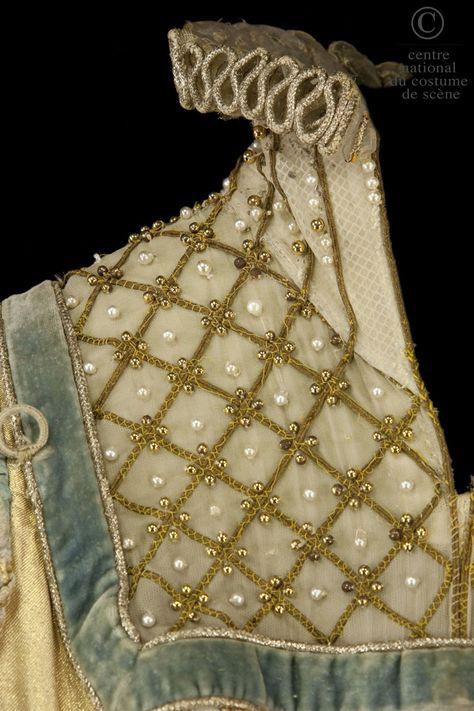 Diy Crafts - Opera national de Paris, Costume Atelier Karinska, costume for Elizabeth in Verdi's Don Carlos opera, gold lamé bodice, white and gold go