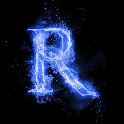 Fire Letter R Of Burning Blue Flame Flaming Burn Font Or Bonfire Black And Blue Wallpaper Blue Flames Letter R
