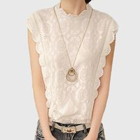 Blouses & Shirts Summer Women Blouses Casual Lace Crochet Blouse Slim Sleeveless Blusas Feminina Tops Shirts Plus Size