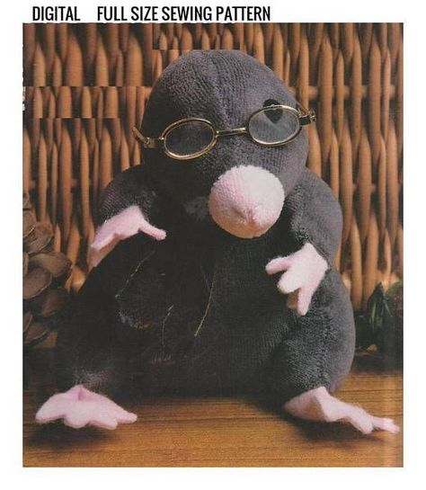 Instant PDF Digital Download Vintage Full Size Sewing Pattern A Stuffed Plush Soft Body Toy Mole Animal