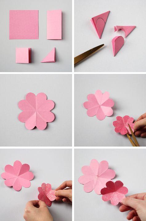 Открытки своими руками цветы из цветной бумаги