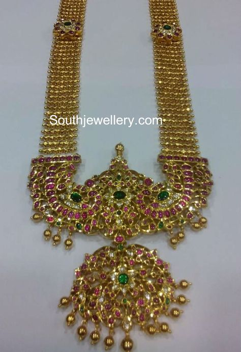Antique Gold Haram with Peacock Kundan Pendant - Indian Jewellery Designs