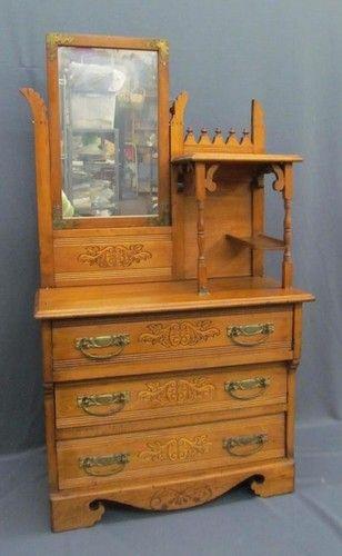 antique victorian childs salesman sample gingerbread embossed wood dresser miniature furniture - Sample Furniture