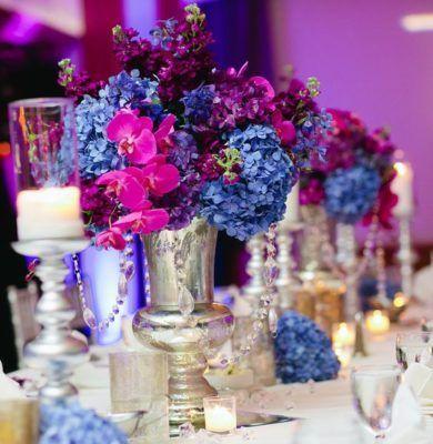 Pink Purple And Blue Wedding Reception Centerpiece Pink Purple