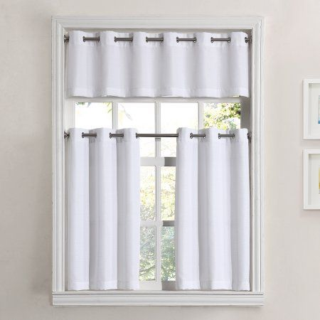 Mainstays Solid Grommet 3 Piece Kitchen Curtain Tier And Valance