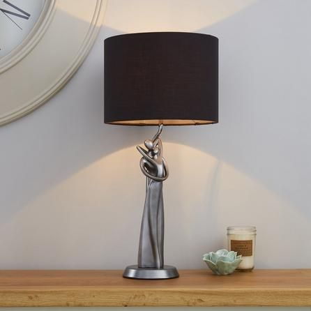 Dunelm Grey Loving Couple Silver Table Lamp | Silver table