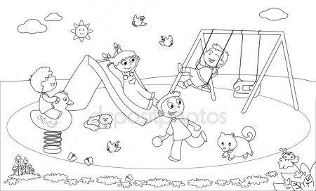Enfants à La Cour De Récréation Coloriage De Vecteur Kids
