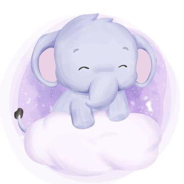 Bebe Elefante En La Nube El Animal Lindo Png Y Vector En 2020 Dibujos De Animales Tiernos Bebe Clipart Estampados De Bebe