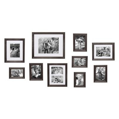 10pc Bordeaux Wood Frame Set Gray Kate Laurel All Things Decor Picture Frame Gallery White Picture Frame Set Gallery Wall Kit