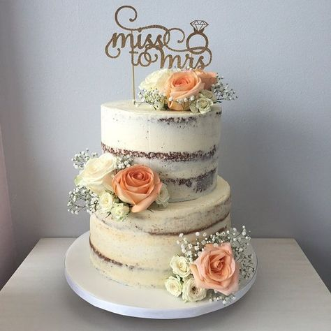 Gorgeous bridal shower cake and gold from miss to mrs cake topper. Cake topper by Sugar Crush Co