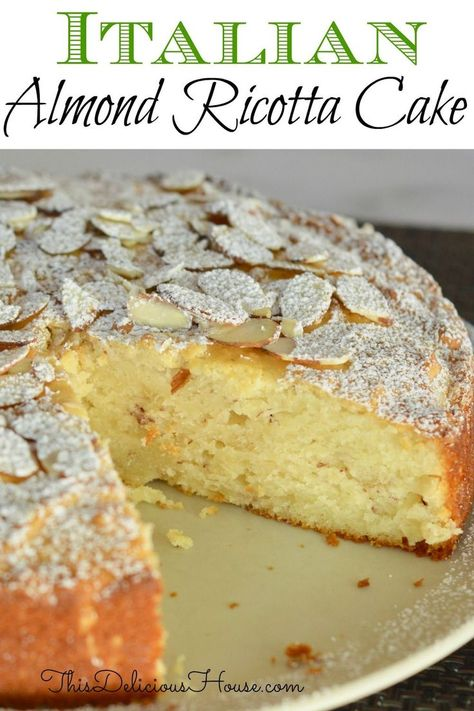 cake recipes Italian Almond Ricotta Cake is the perfect Italian dessert. This recipe is full of flavor and so simple to make with ricotta cheese and almond extract. Almond Recipes, Baking Recipes, Gula, Almond Cakes, Easy Desserts, Easy Italian Desserts, Italian Foods, Simple Italian Recipes, Simple Dessert Recipes