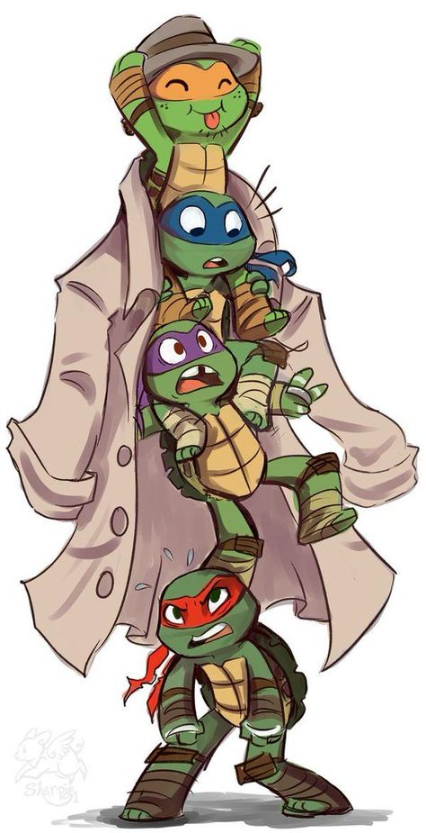 Teenage Mutant Ninja Turtles They are so cute! Teenage Mutant Ninja Turtles, Ninja Turtles Art, Ninja Turtle Drawing, Ninja Turtle Tattoos, Nija Turtles, Ninja Turtles Cartoon, Cartoon Cartoon, Cartoon Characters, Fictional Characters