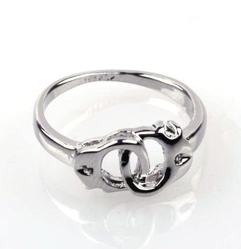 Linking Handcuff Ring Silver Alloy by SilverPhantomJewelry on Etsy, $9.99