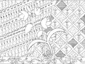 Sketsa Gambar Batik Bunga Yang Mudah Digambar Di Buku Gambar