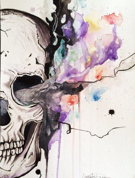 Smokin' Skull Original Watercolor and Ink painting; Framed Art; Modern Art; Tattoo Art; Jennifer Sonksen Duran- Art By Jen Duran on Big Cartel