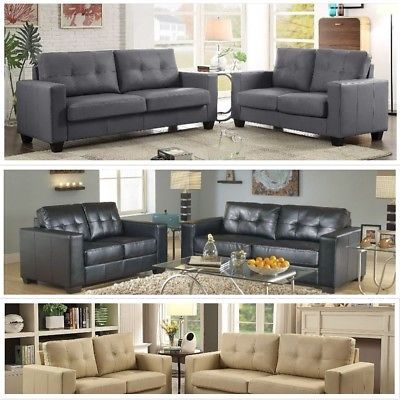 2pc Modern Soft Pu Leather Contemporary Sofa And Loveseat Tufted