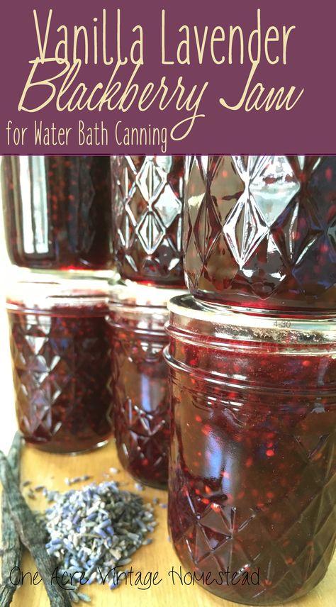 Vanilla Lavender Blackberry Jam ⋆ One Acre Vintage & Pumpkin Patch Mtn. – Food for Healty Lavender Jam, Lavender Fields, Blackberry Jam Recipes, Blackberry Freezer Jam, Homemade Blackberry Jam, Can Jam, Lavender Recipes, Jelly Recipes, Drink Recipes