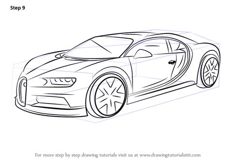 Learn How To Draw Bugatti Chiron Sports Cars Step By Step Drawing Tutorials Bugatti Chiron Cool Car Drawings Mustang Drawing