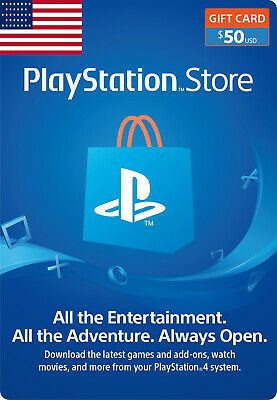 50 Us Dollar Playstation Network Code Ps 3 4 Vita 50 Usd Psn Card Code Usa Store Gift Cards Gift Card Amazon Gift Card Free